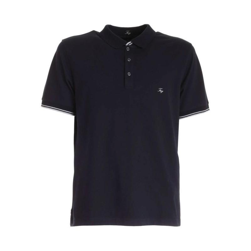 FAY - Pique polo shirt with chest logo - Blue -
