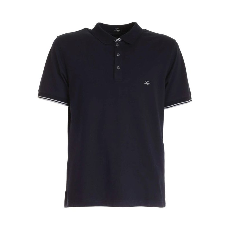 FAY - Polo in piquet con logo al petto - Blu -