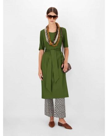 S MAX MARA - LIRICHE Stretch Cotton Dress - Dark Green