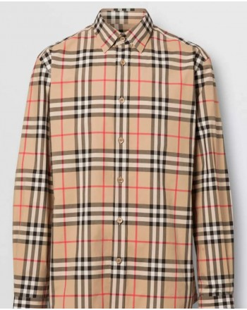 BURBERRY - Cotton poplin shirt with check pattern - Archive Beige
