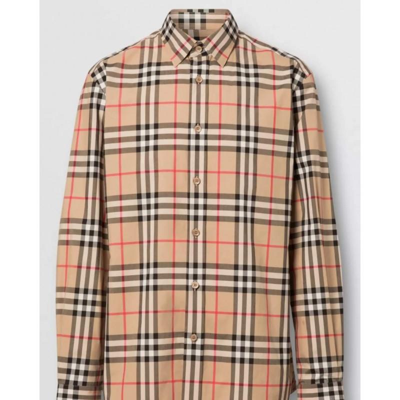 BURBERRY - Camicia in popeline di cotone con motivo check - Archive Beige