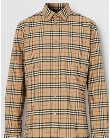 BURBERRY - Stretch cotton shirt with miniature check pattern - Archive Beige