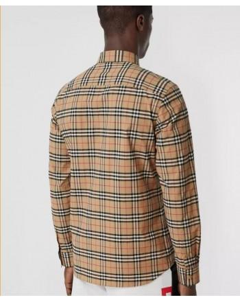 BURBERRY - Camicia in cotone stretch con motivo check in miniatura - Archive Beige