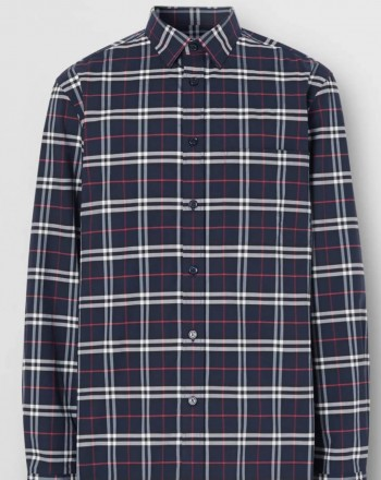 BURBERRY - Stretch Cotton Shirt With Miniature Check Pattern - Navy Check