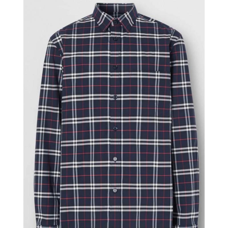 BURBERRY - Camicia In Cotone Stretch Con Motivo Check In Miniatura - Navy Check