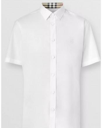 BURBERRY - Camicia a maniche corte in cotone stretch con monogramma - Bianco