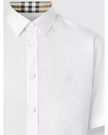 BURBERRY - Short-sleeved stretch cotton shirt with monogram - White