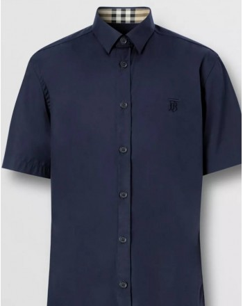 BURBERRY - Short Sleeved Stretch Cotton Shirt With Monogram - Navy