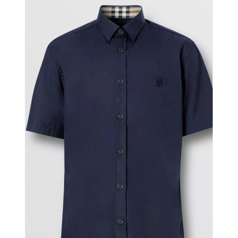 BURBERRY - Camicia A Maniche Corte In Cotone Stretch Con Monogramma - Navy