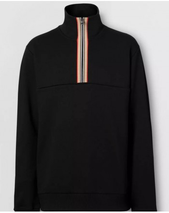 BURBERRY - Sweatshirt with funnel neck and stripe detail - Black