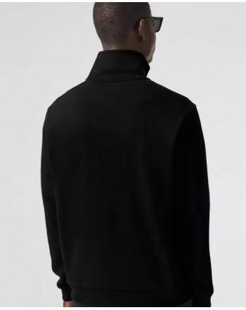 BURBERRY - Felpa con collo a imbuto  e dettaglio righe - Nero