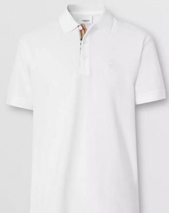 BURBERRY - Polo in cotone piqué con motivo monogramma - Bianco