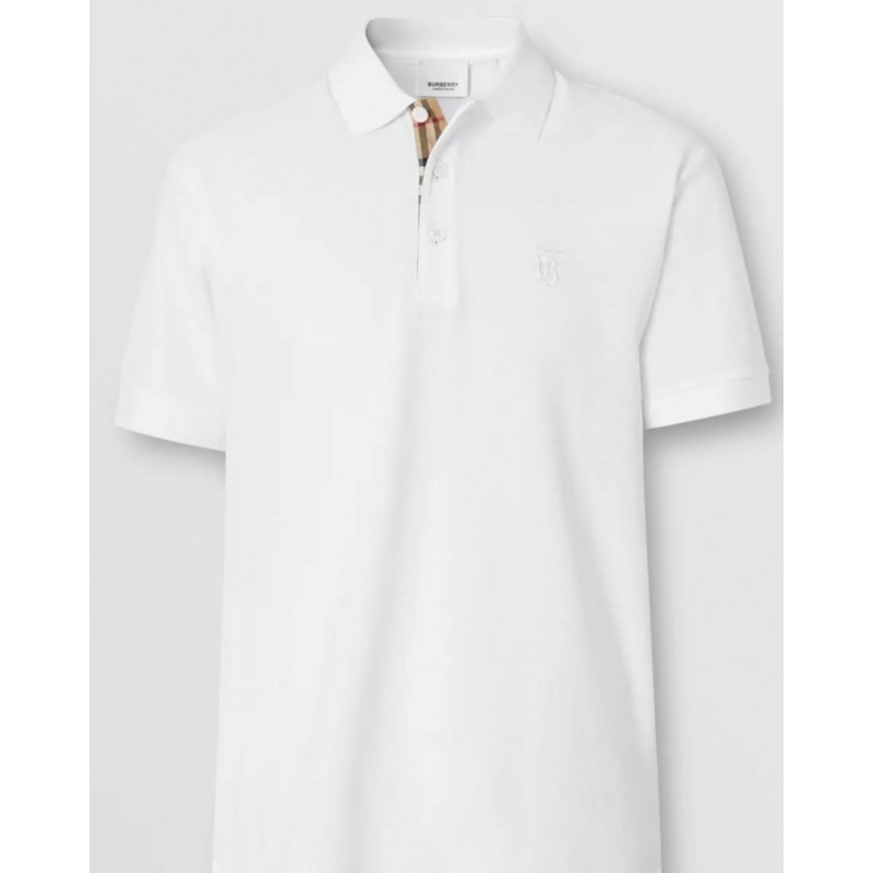 BURBERRY - Cotton piqué polo shirt with monogram motif - White