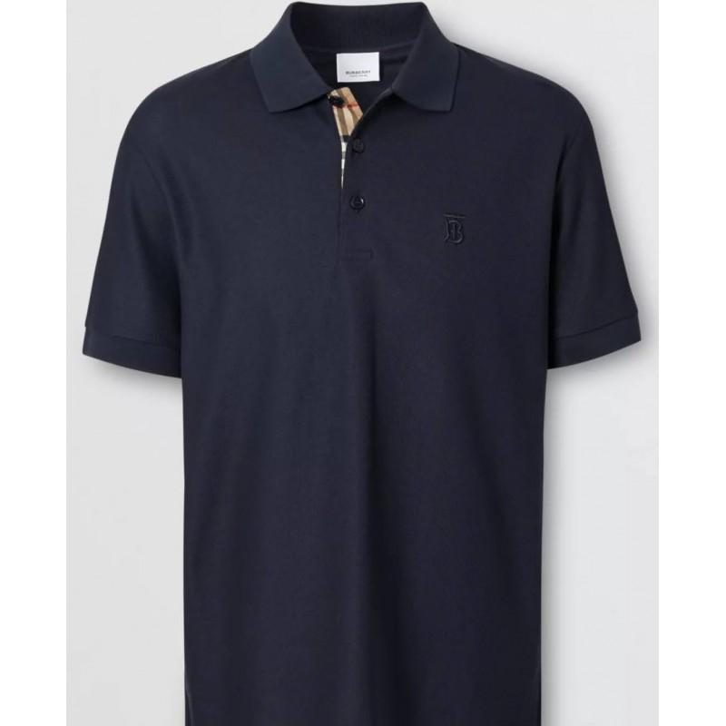BURBERRY - Polo In Cotone Piqué Con Motivo Monogramma - Navy