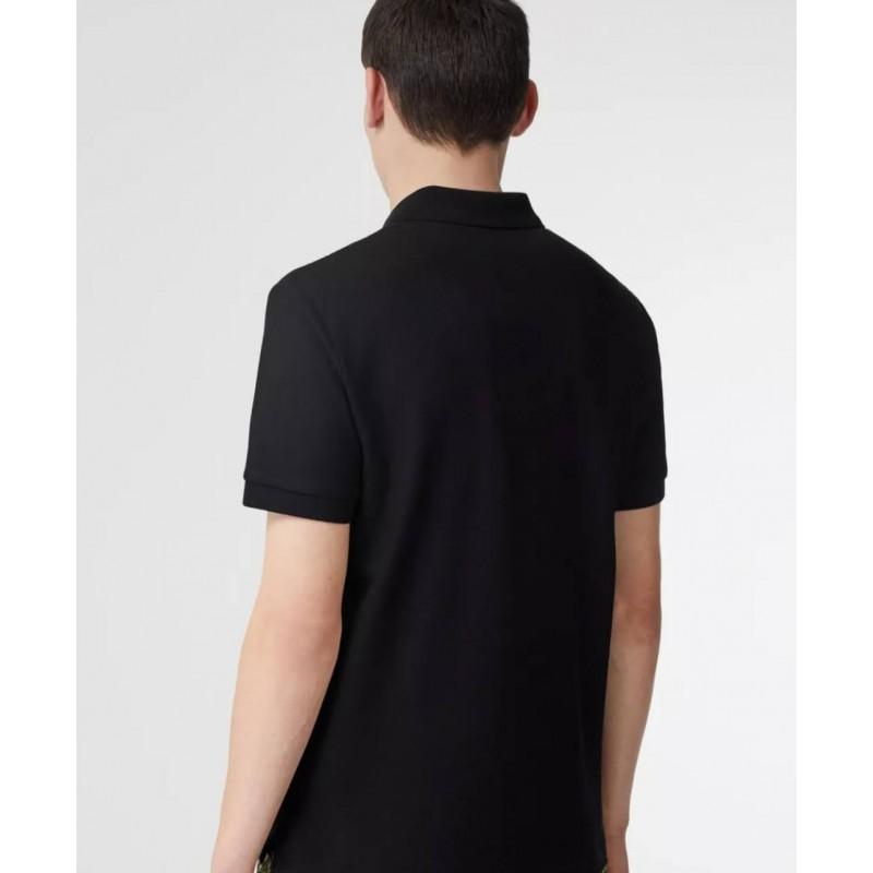 BURBERRY - Cotton Piqué Polo Shirt With Monogram Motif - Black