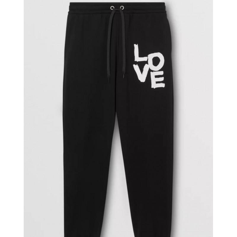 BURBERRY - Pantaloni da jogging in cotone con scritta Love - Nero