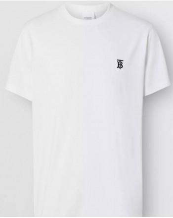 BURBERRY - T-shirt in cotone con monogramma - Bianco