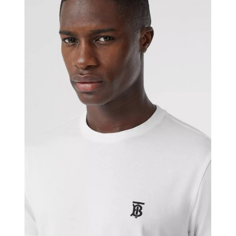 BURBERRY - Cotton T-shirt with monogram - White