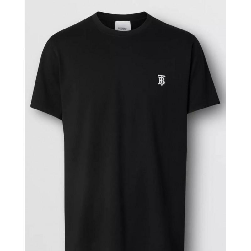 BURBERRY - Cotton T-Shirt With Monogram - Black