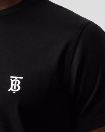 BURBERRY - T-Shirt In Cotone Con Monogramma - Nero