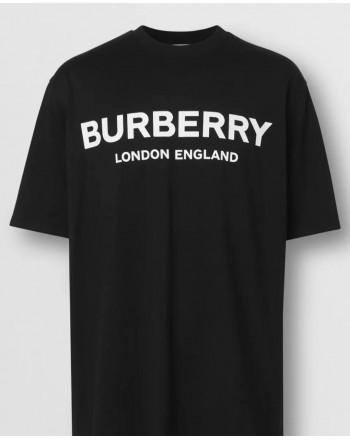 BURBERRY - Cotton T-shirt with logo - Black