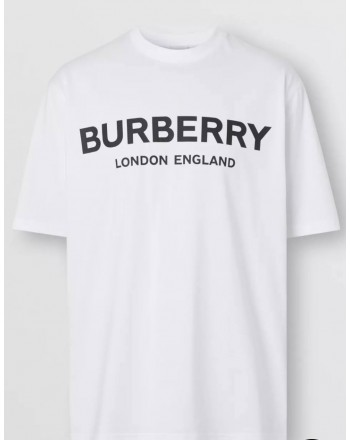 BURBERRY - T-shirt in cotone con logo - Bianco