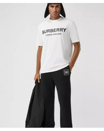 BURBERRY - Cotton T-shirt with logo - White