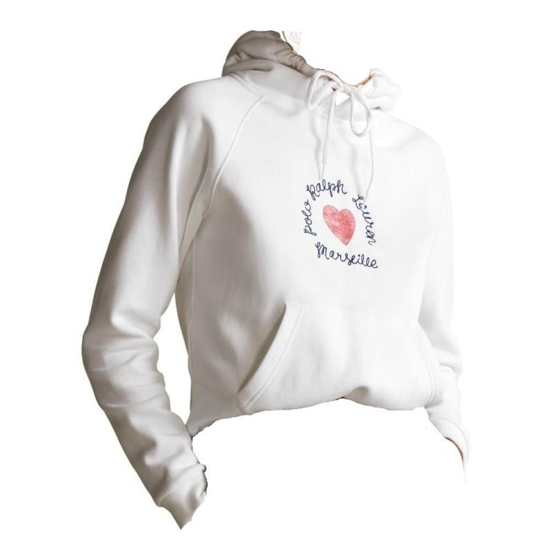 POLO RALPH LAUREN  - Hooded Print Sweatshirt  - White  -