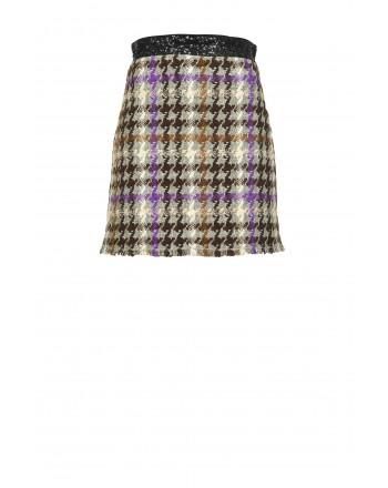 PINKO - Check mini skirt - BROWN