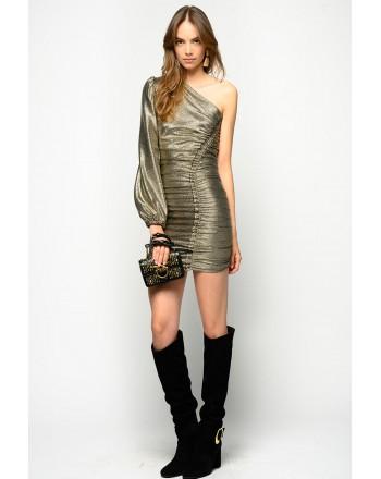 PINKO - One Shoulder Shimmered  Dress Magnitudine - Gold/Black