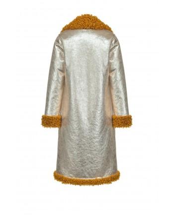 PINKO - Fake Shearling Reversible Coat DRACO - Mustard/Light Gold