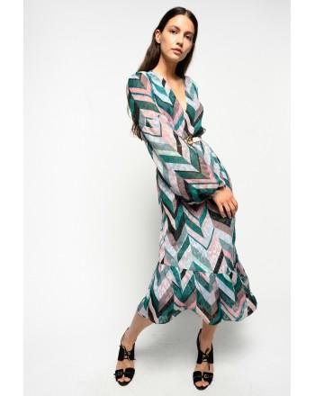 PINKO - HUBBLE Dress - GREEN/PINK