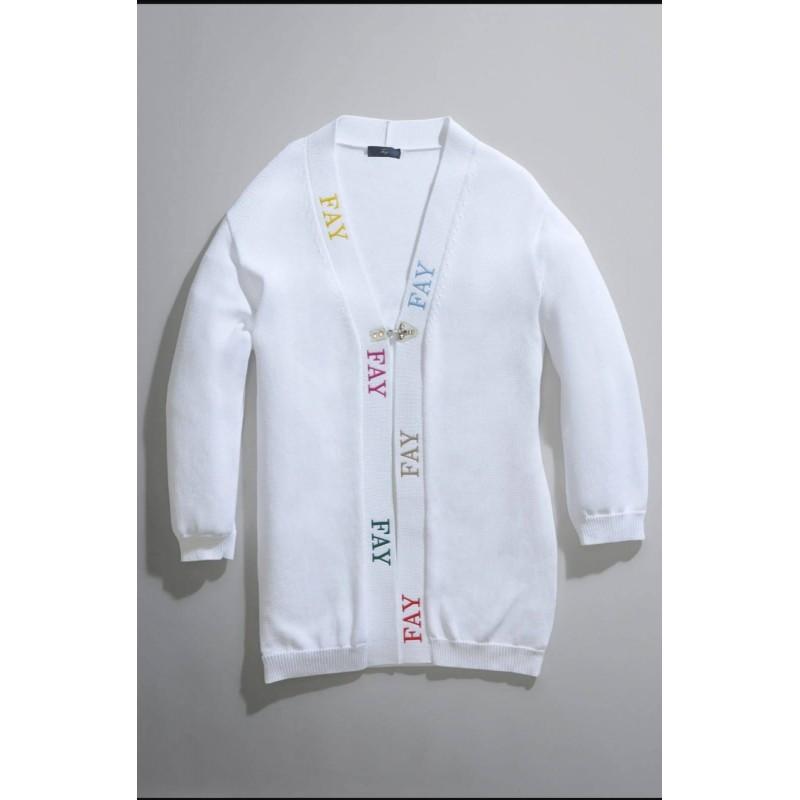 FAY - Logo Cardigan - White