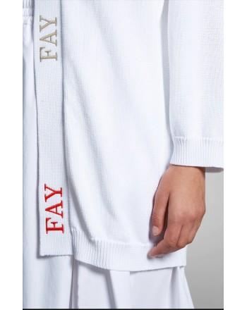 FAY - Cardigan Logo - Bianco