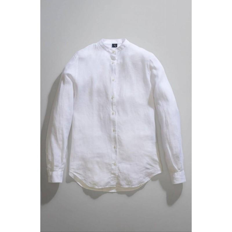FAY - Mandarin Collar Shirt - White
