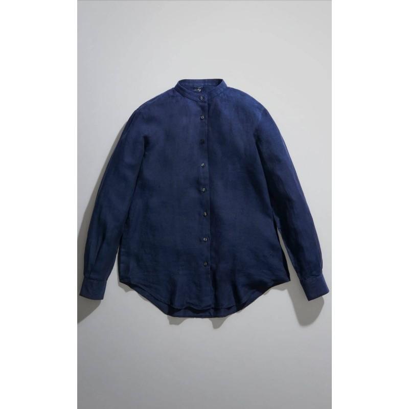 FAY - Camicia Collo alla Coreana -Navy