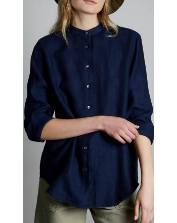 FAY - Mandarin Collar Shirt -Navy