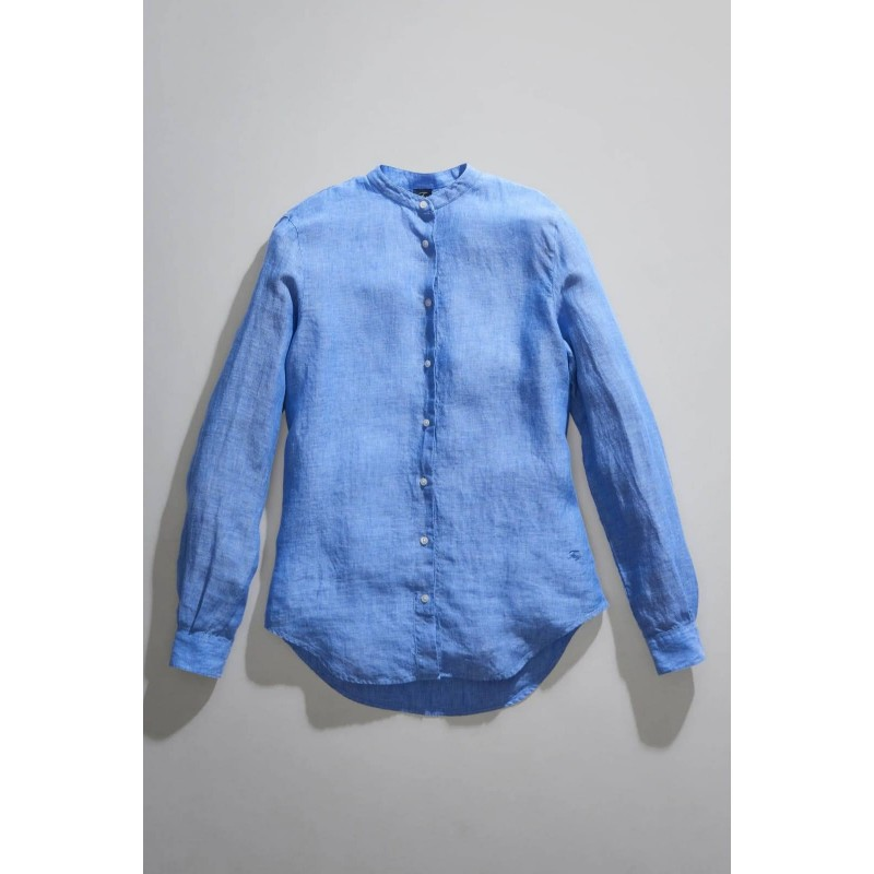 FAY - Mandarin Collar Shirt - Light Blue