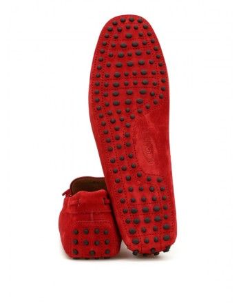 TOD'S - Suede Loafer with Lacing - Red