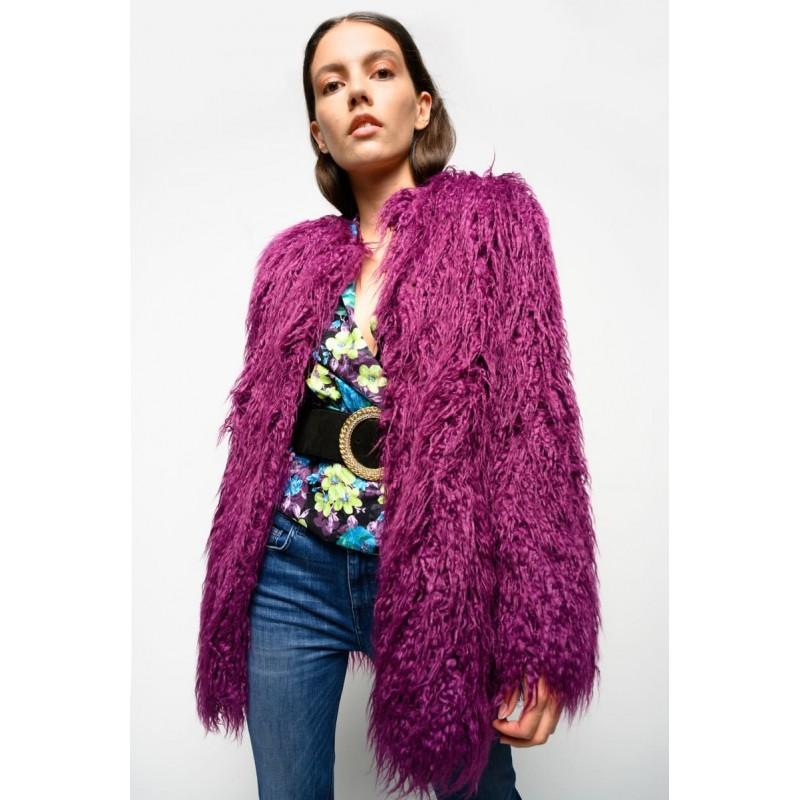 PINKO - Mongolia Faux Fur Jacket IONOSFERA - Purple