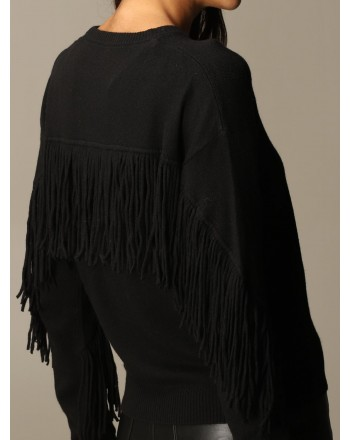 PINKO - Roundneck Fringe Knit COPERTO - Black