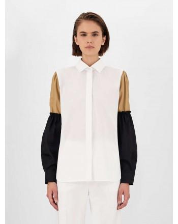 MAX MARA - Cotton Shirt with Baloon Sleeves BADIA - White/Camel/Black
