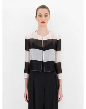 MAX MARA STUDIO  -  DOREMA Silk Organza Bolero Jacket - Ivory/Black