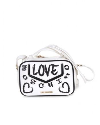 LOVE MOSCHINO - Graffiti Logo Shoulder Bag -White/Black