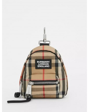BURBERRY - Charm backpack with check pattern - Archive Beige