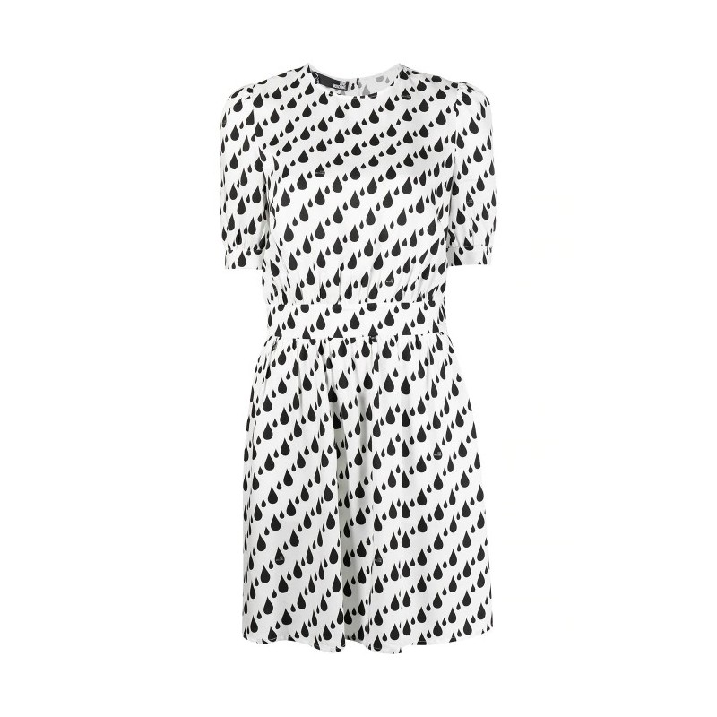 LOVE MOSCHINO - DROPS ALL OVER Print Dress - White