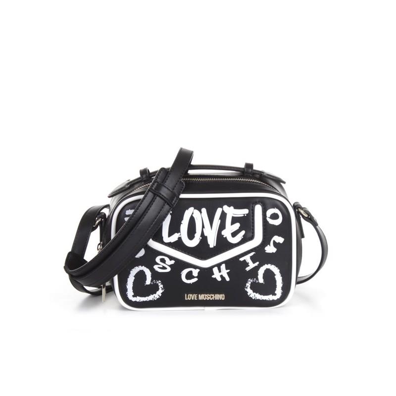 LOVE MOSCHINO - Borsa a Tracolla Logo Graffiti - Nero/Bianco