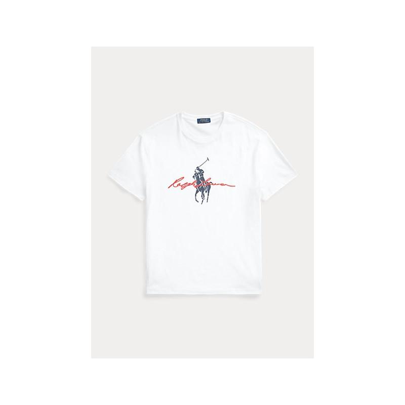 POLO RALPH LAUREN  -  Maglietta Big Pony Custom Slim-Fit - Bianco -