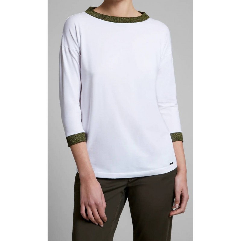 FAY -  T-shirt manica 3/4 in jersey - Bianco
