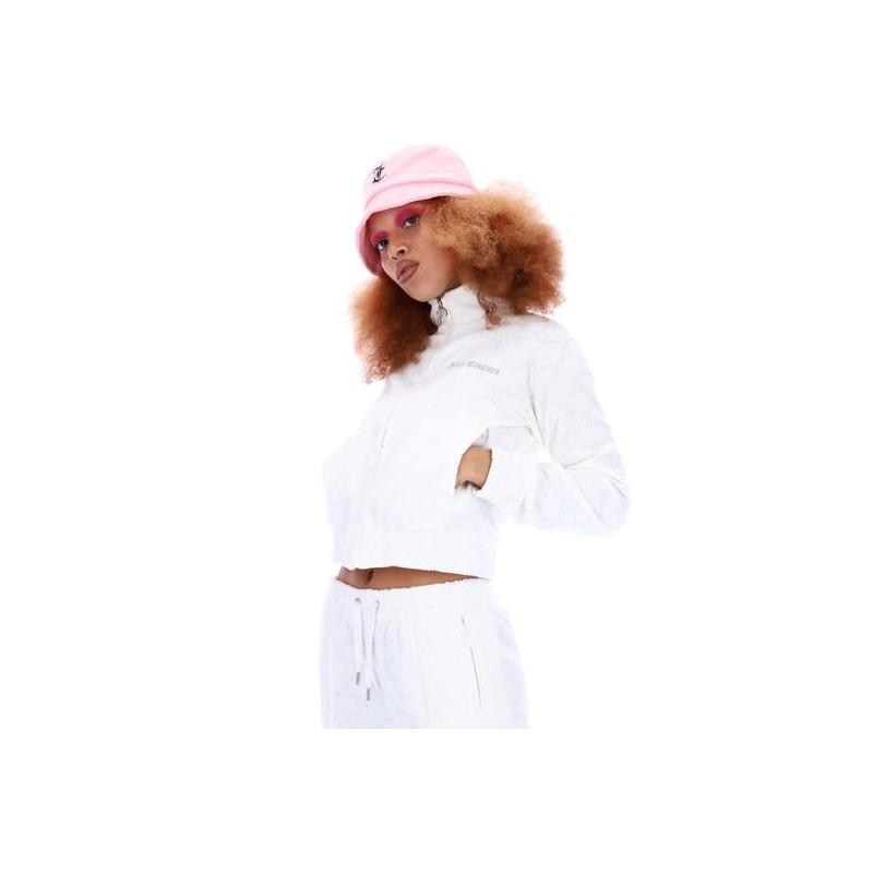 JUICY COUTURE - TANYA MONOGRAM JACQUARD TOWEL SWEATSHIRT  - WHITE